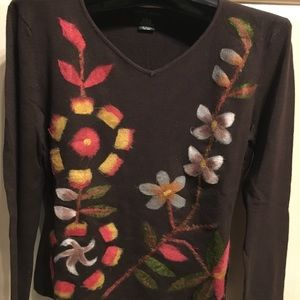 Cheryl Taylor knitted sweater, petite, brown